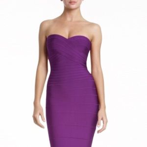 Herve Leger Violet Strapless Bodycon Dress